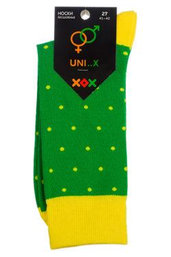 Зеленые носки в желтый горох